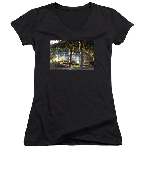 Beverly Lake View In Fall Women's V-Neck T-Shirt