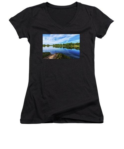 Women's V-Neck T-Shirt (Junior Cut) featuring the photograph Lake View by Tom Mc Nemar
