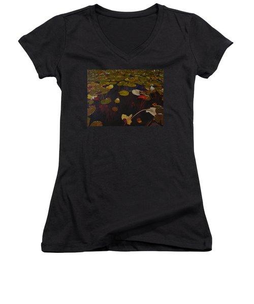 Women's V-Neck T-Shirt (Junior Cut) featuring the painting Lake Washington Lilypad 7 by Thu Nguyen