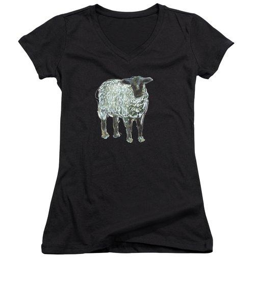 Lamb Art Women's V-Neck (Athletic Fit)