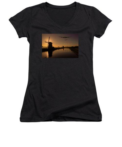 Lancaster Bombers And Dutch Windmills Women's V-Neck T-Shirt (Junior Cut) by Ken Brannen