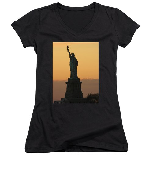 Land Of The Free And The Brave Women's V-Neck T-Shirt (Junior Cut) by Emmy Marie Vickers