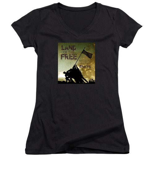 Land Of The Free Women's V-Neck T-Shirt (Junior Cut) by Dawn Romine