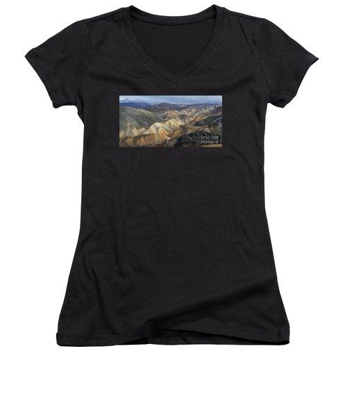 Landmannalaugar Rhyolite Mountains Iceland Women's V-Neck T-Shirt (Junior Cut) by Rudi Prott