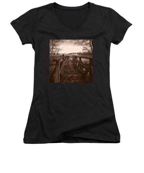 #landscape #bridge #family #tree Women's V-Neck T-Shirt (Junior Cut) by Mandy Tabatt