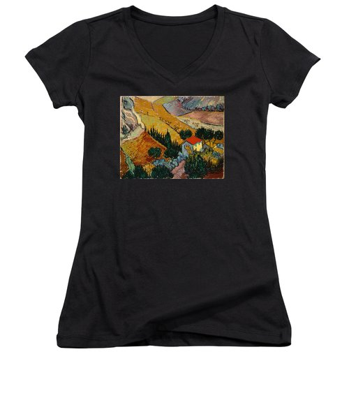 Women's V-Neck featuring the painting Landscape With House And Ploughman by Van Gogh