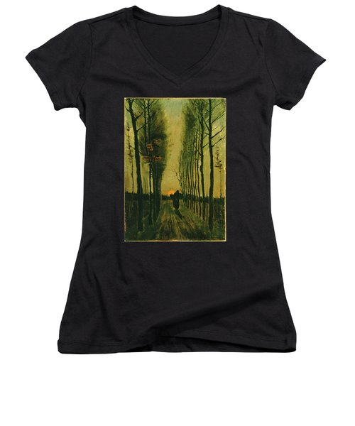 Women's V-Neck featuring the painting Lane Of Poplars At Sunset by Van Gogh