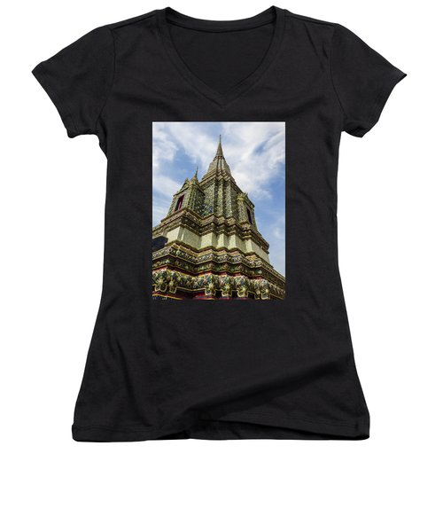 Large Colorful Stupa At Wat Pho Temple Women's V-Neck