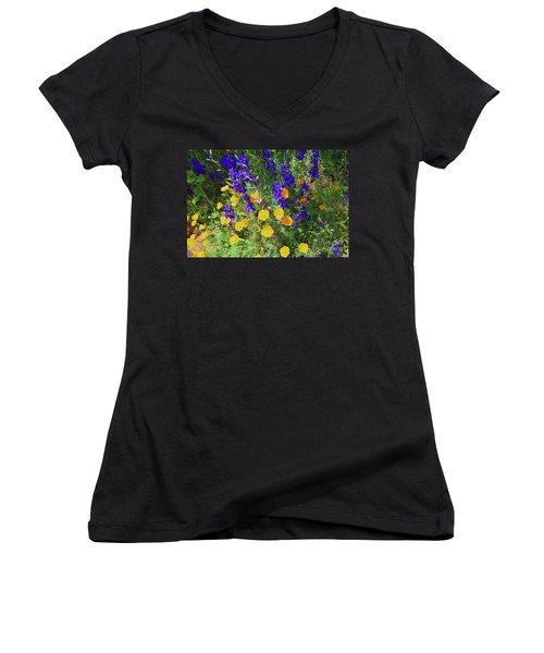 Larkspur And Primrose Garden Women's V-Neck T-Shirt