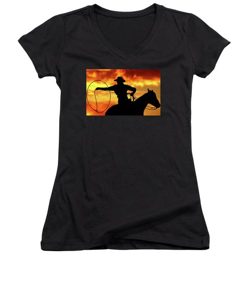 Lasso Sunset Cowboy Women's V-Neck (Athletic Fit)