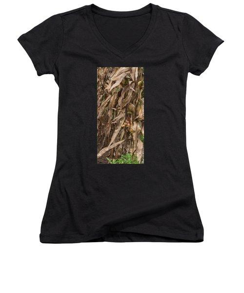 Last Ear Standing Women's V-Neck T-Shirt (Junior Cut) by Arlene Carmel