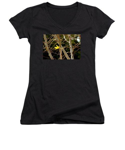 Last Leaf Women's V-Neck T-Shirt (Junior Cut) by Kume Bryant