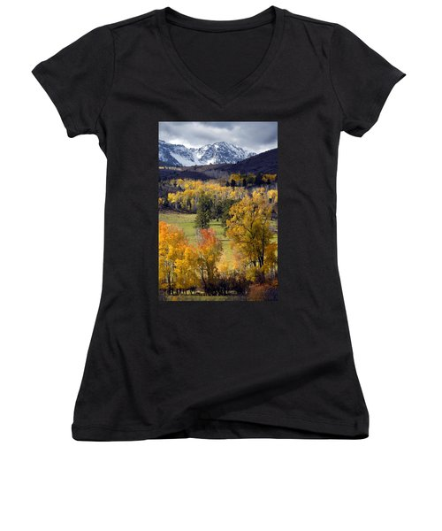 Last Light Before The Storm Women's V-Neck T-Shirt (Junior Cut) by Dave Mills
