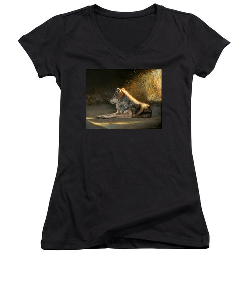 Last Light - Wolf Women's V-Neck (Athletic Fit)