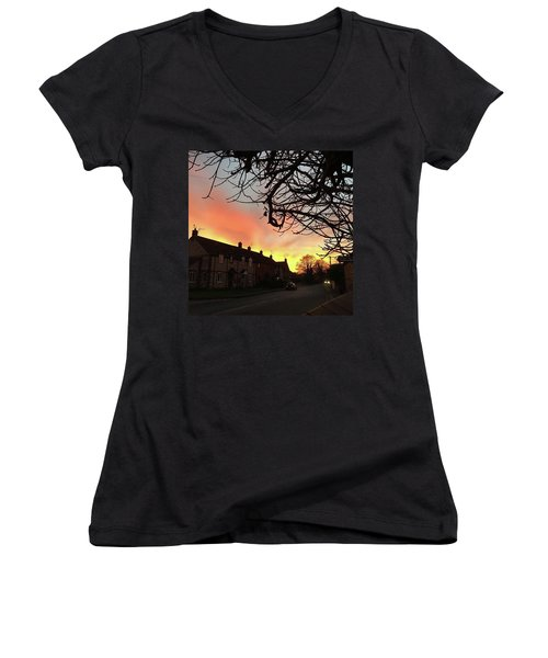 Last Night's Sunset From Our Cottage Women's V-Neck T-Shirt (Junior Cut) by John Edwards
