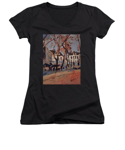Last Sunbeams Our Lady Square Maastricht Women's V-Neck T-Shirt (Junior Cut) by Nop Briex