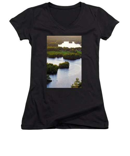 Late Afternoon On Lake Megunticook, Camden, Maine -43988 Women's V-Neck