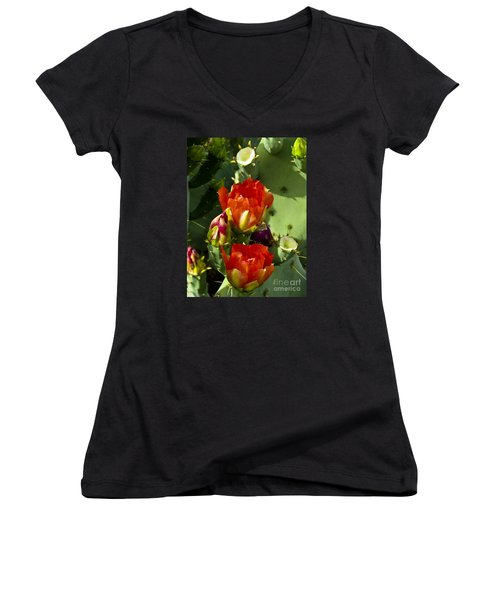Late Bloomer Women's V-Neck T-Shirt (Junior Cut) by Kathy McClure