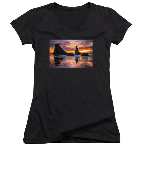 Women's V-Neck T-Shirt (Junior Cut) featuring the photograph Late Night Cloud Dance by Darren White