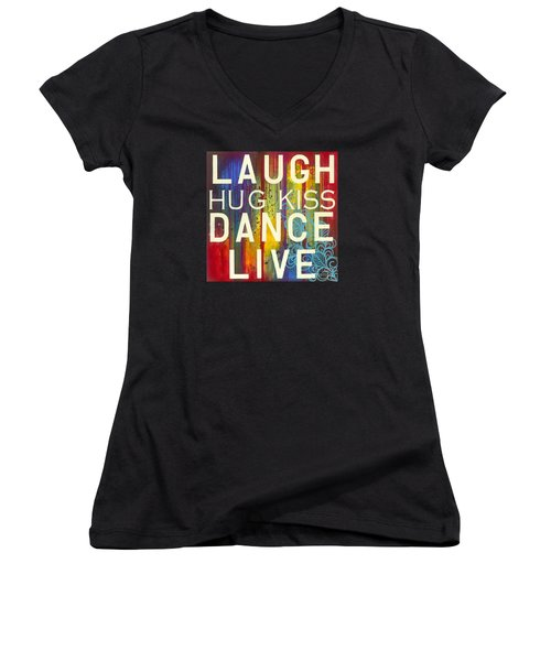 Women's V-Neck featuring the painting Laugh Hug Kiss Dance Live by Carla Bank