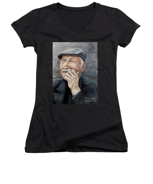 Women's V-Neck T-Shirt (Junior Cut) featuring the painting Laughing Old Man by Judy Kirouac