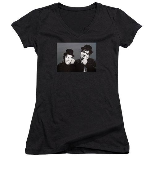 Laurel And Hardy Women's V-Neck T-Shirt (Junior Cut) by Paul Meijering
