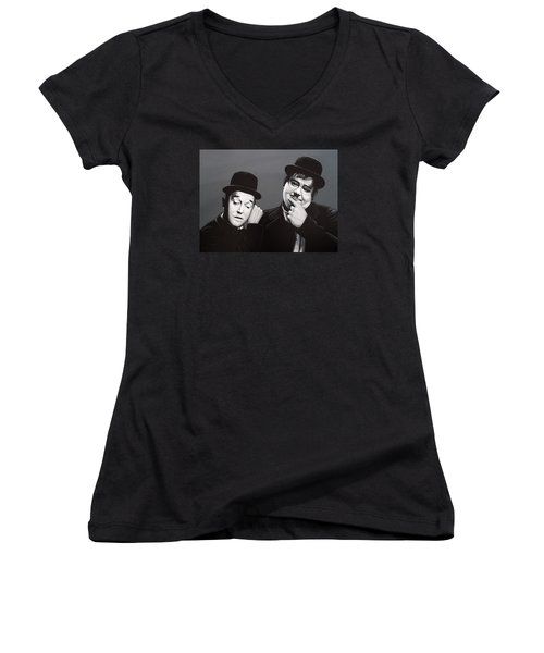 Laurel And Hardy Women's V-Neck T-Shirt (Junior Cut)