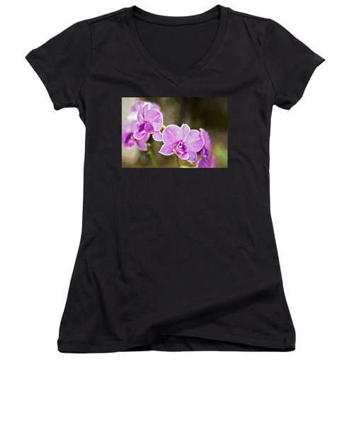 Lavendar Orchids Women's V-Neck T-Shirt (Junior Cut) by Lana Trussell