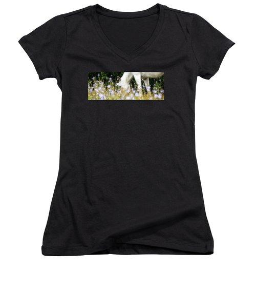 Lavender Dreams Women's V-Neck T-Shirt (Junior Cut) by Joan Davis