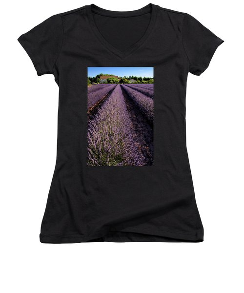 Lavender Field Provence France Women's V-Neck T-Shirt (Junior Cut) by Dave Mills