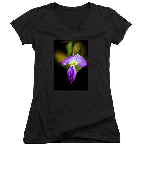 Lavender Starship Women's V-Neck T-Shirt (Junior Cut) by Bruce Pritchett