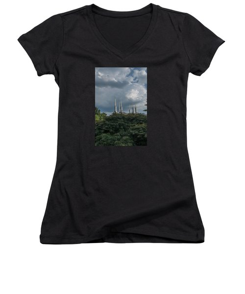 Lds Storm Clouds Women's V-Neck (Athletic Fit)