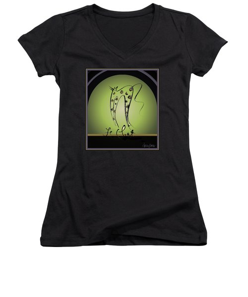 Le Chat - Green And Gold Women's V-Neck