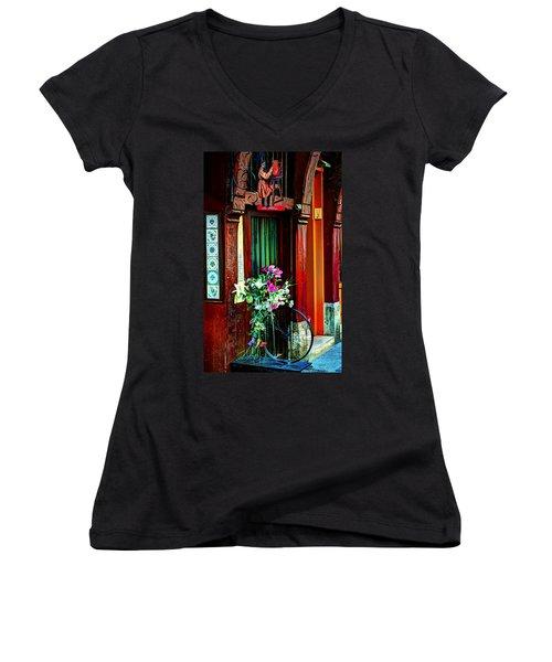 Women's V-Neck T-Shirt (Junior Cut) featuring the photograph Le Potier Rouen France by Tom Prendergast