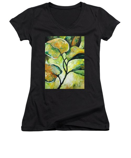 Leaves2 Women's V-Neck T-Shirt