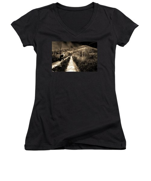 Leaving This Town Women's V-Neck T-Shirt (Junior Cut) by Gray  Artus