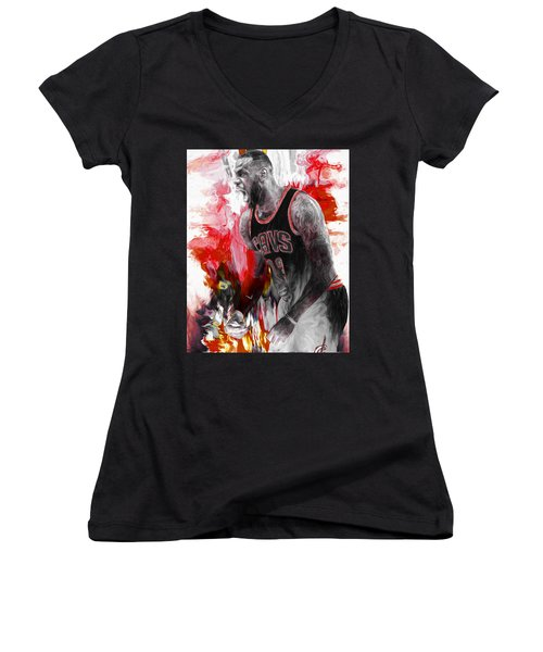 Lebron James Cleveland Cavs Digital Painting Women's V-Neck T-Shirt (Junior Cut) by David Haskett