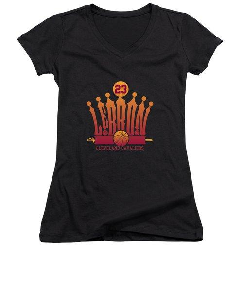 Lebroncrown Women's V-Neck T-Shirt (Junior Cut) by Augen Baratbate