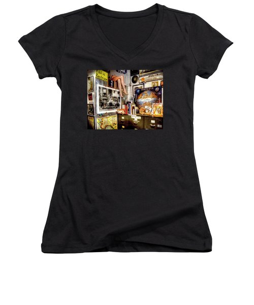Legs In The Back Of The Shop Women's V-Neck T-Shirt (Junior Cut) by Greg Sigrist
