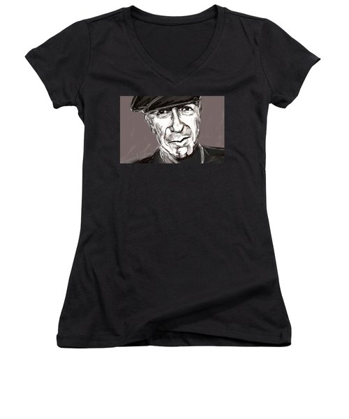 Women's V-Neck T-Shirt (Junior Cut) featuring the painting Leonard Cohen  by Jim Vance