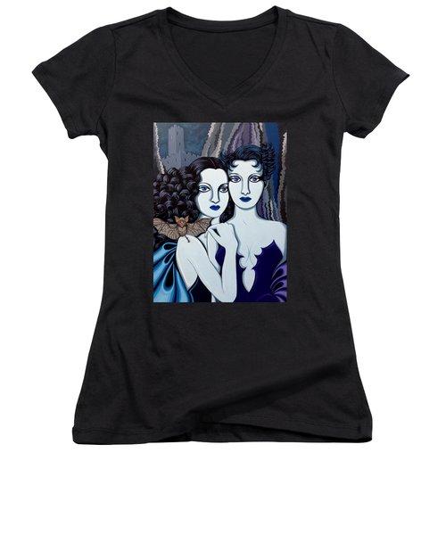 Les Vamperes Bleu Women's V-Neck T-Shirt (Junior Cut) by Tara Hutton