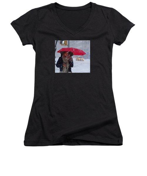 L Esprit De New York - Winter In New York Women's V-Neck T-Shirt (Junior Cut) by Miriam Danar