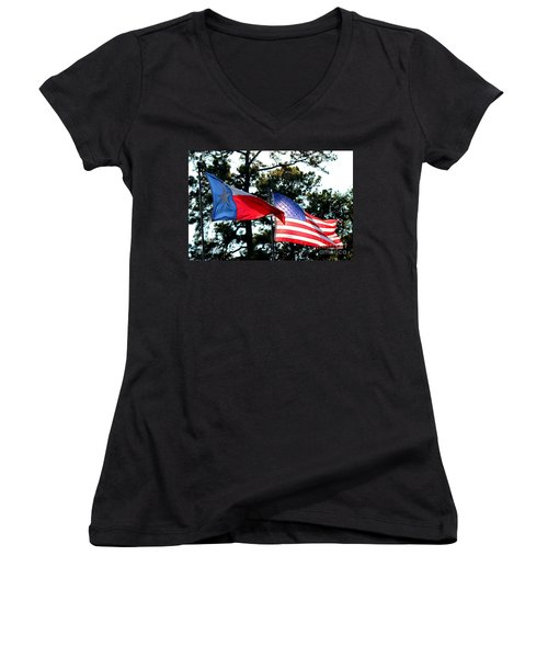 Women's V-Neck T-Shirt (Junior Cut) featuring the photograph Let Freedom Ring by Kathy  White