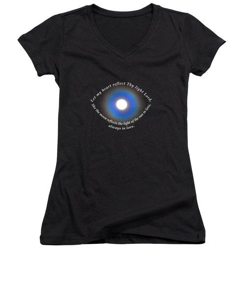 Let My Heart Reflect Thy Light 1 Women's V-Neck T-Shirt (Junior Cut) by Agnieszka Ledwon