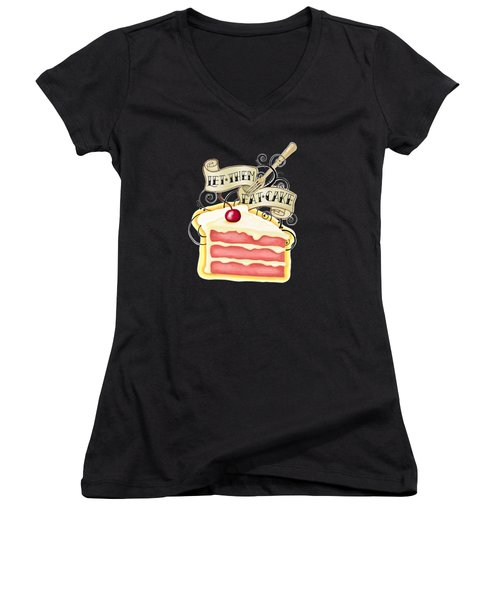 Let Them Eat Cake Traditional Tattoo Style Women's V-Neck (Athletic Fit)