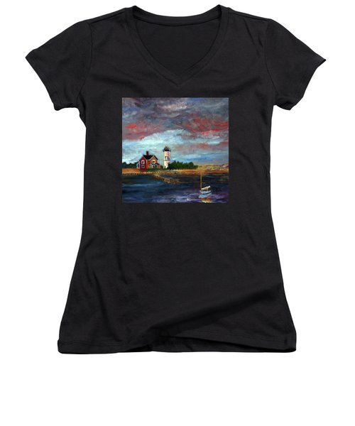 Women's V-Neck T-Shirt (Junior Cut) featuring the painting Let There Be Light by Michael Helfen