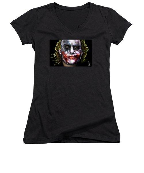 Let's Put A Smile On That Face Women's V-Neck T-Shirt (Junior Cut) by Vinny John Usuriello