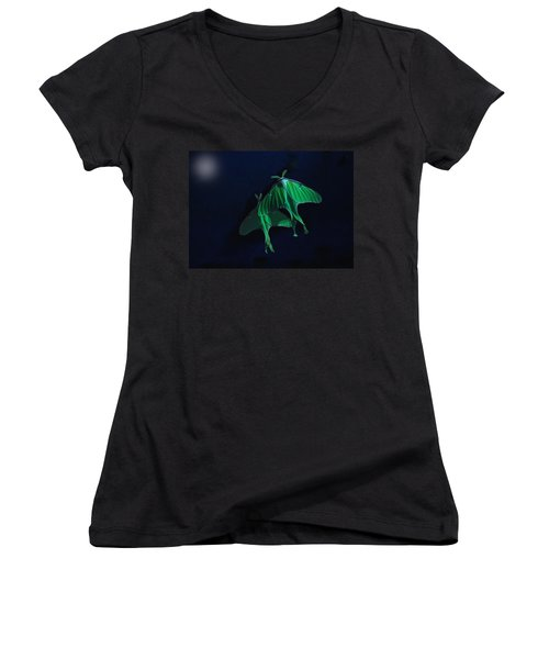 Women's V-Neck T-Shirt (Junior Cut) featuring the photograph Let's Swim To The Moon by Susan Capuano