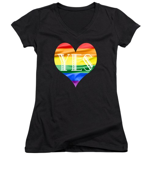 Lgbt Heart With A Big Fat Yes Women's V-Neck T-Shirt (Junior Cut) by Semmick Photo