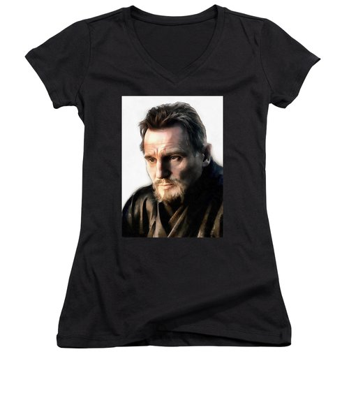 Liam Neeson Women's V-Neck T-Shirt (Junior Cut) by Sergey Lukashin